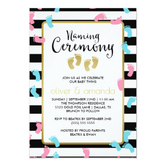 Blue & Pink Footprints Twins Naming Ceremony Card