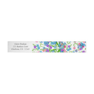 Blue Pink Forget Me Nots Wraparound Labels Wraparound Address Label