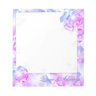 Blue Pink Gemstone Compass Rhinestone Look Notepad