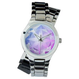 Blue Pink Gemstone Compass Rhinestone Look Watch