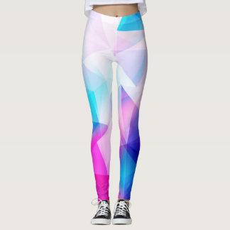 Blue pink geometric leggings