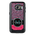 Blue & Pink Glitter Chevron Personalised Defender OtterBox Samsung Galaxy S7 Case