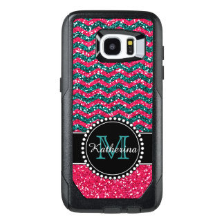 Blue & Pink Glitter Chevron Personalised OtterBox Samsung Galaxy S7 Edge Case
