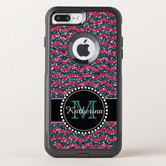 Blue & Pink Glitter Chevron Personalized Defender OtterBox Commuter iPhone 8 Plus/7 Plus Case