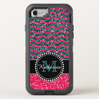 Blue & Pink Glitter Chevron Personalized Defender OtterBox Defender iPhone 8/7 Case