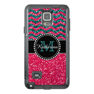 Blue & Pink Glitter Chevron Personalized Defender OtterBox Samsung Note 4 Case