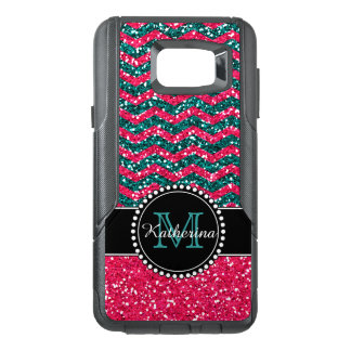 Blue & Pink Glitter Chevron Personalized Defender OtterBox Samsung Note 5 Case