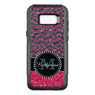 Blue & Pink Glitter Chevron Personalized OtterBox Commuter Samsung Galaxy S8+ Case