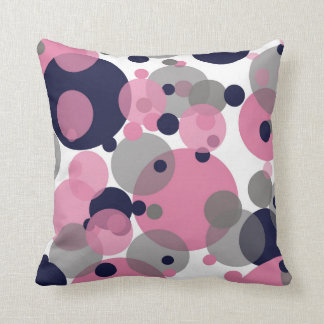 Blue Pink Gray Bubbles White Throw Pillow
