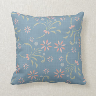 Blue, Pink Green Flowers American MOJO Pillow Throw Cushions
