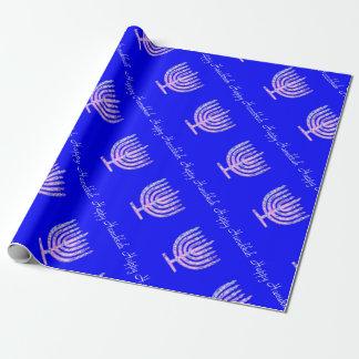 Blue Pink Hanukkah Menorah 4 Laura Wrapping Paper