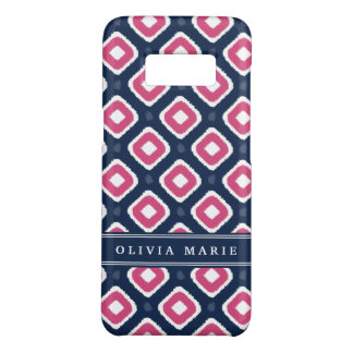 Blue Pink Ikat Mod Pattern with Name Case-Mate Samsung Galaxy S8 Case