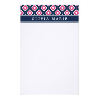 Blue Pink Ikat Mod Pattern with Name Stationery Paper