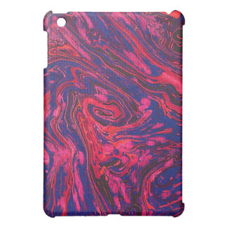 Blue & Pink Ink Swirl Abstract iPad Case