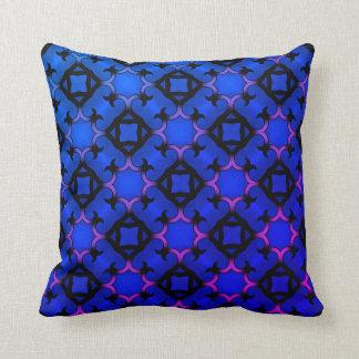 Blue pink kaleidoscope throw pillow