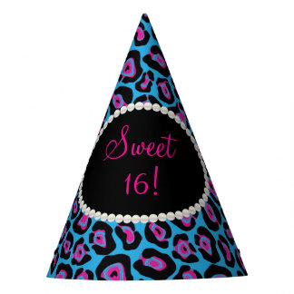 Blue/Pink Leopard Print Pearls Sweet 16 Party Hats