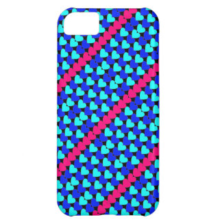 Blue pink mini hearts pattern iphone 5 case