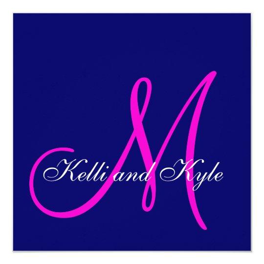 Blue Pink Monogram Wedding Invitations