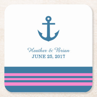 Blue Pink Nautical Anchor Wedding Paper Coasters