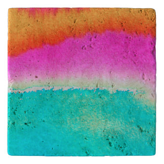 Blue Pink Orange Fun Travertine Stone Trivet