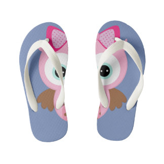 Blue & Pink Owl Flip Flops Thongs