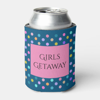 Blue pink polka dots confetti custom can coolers