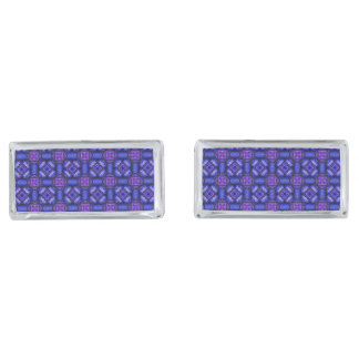 Blue pink purpel checked plaid pattern No1 Silver Finish Cufflinks