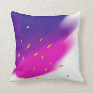 Blue Pink Purple Blend on White, Gold Tone Accents Cushion