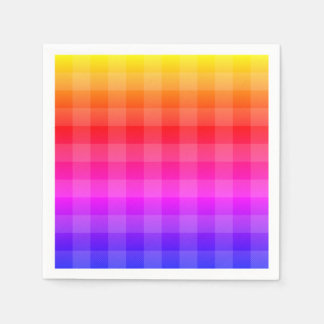 Blue pink purple red orange yellow plaid disposable serviette