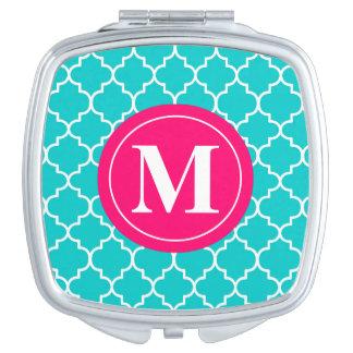 Blue Pink Quatrefoil Monogram Compact Compact Mirror