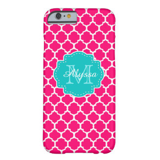 Blue Pink Quatrefoil Personalized Barely There iPhone 6 Case