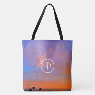 Blue & pink rainbow sunrise photo custom monogram tote bag