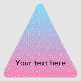 Blue pink star pattern triangle sticker