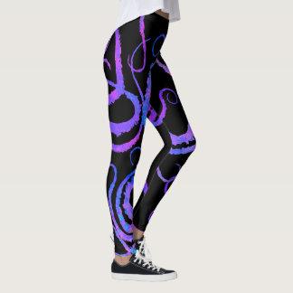 Blue & Pink Tentacles On Black - Leggings