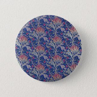 blue pink thistle 6 cm round badge