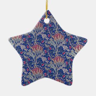 blue pink thistle ceramic ornament