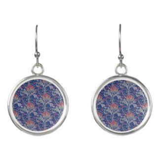 blue pink thistle earrings