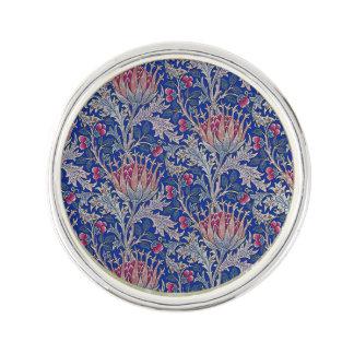 blue pink thistle lapel pin