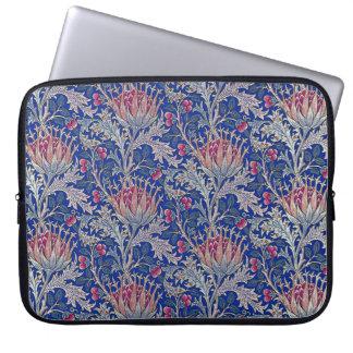 blue pink thistle laptop sleeve
