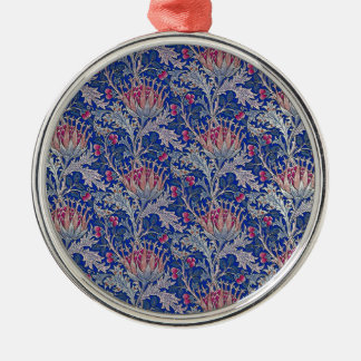 blue pink thistle metal ornament