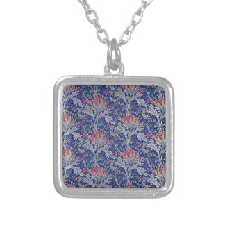 blue pink thistle silver plated necklace