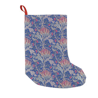 blue pink thistle small christmas stocking