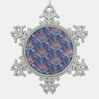 blue pink thistle snowflake pewter christmas ornament