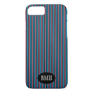 Blue & Pink Vertical Stripes Pattern iPhone 7 Case