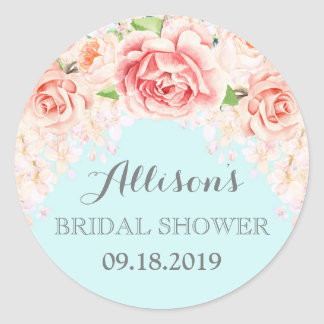 Blue Pink Watercolor Flowers Bridal Shower Classic Round Sticker