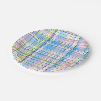 Blue Pink Yellow Wht Preppy Madras 7 Inch Paper Plate