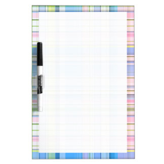 Blue Pink Yellow Wht Preppy Madras Dry-Erase Whiteboards