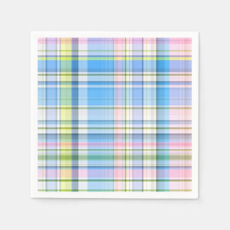 Blue Pink Yellow Wht Preppy Madras Paper Serviettes