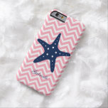 Blue & Pink Zigzags Pattern Starfish Barely There iPhone 6 Case