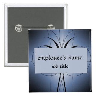 Blue Pinstripe Employee Name Tag Button